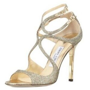 Jimmy Choo Glitter Gold Cage Sandals